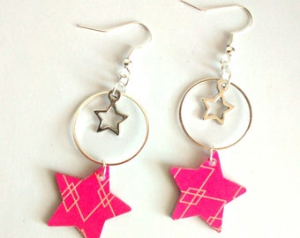 Recycled paper and metal earrings