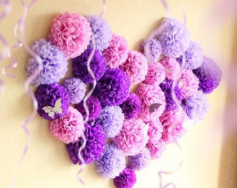 33x Shades of Purple Tissue Paper Pom Poms Wedding Bridal Shower Sweets Bar Backdrops Photography Wall Decoration