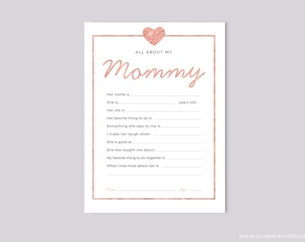 Printable All About My Mommy Instant Download, Mother's Day Questionnaire, Mothers Day Gift,  Pink Blank card from kids