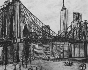 Brooklyn Bridge, New York City, NYC, East River, charcoal on paper, 14 by 17 inches, drawing fine art Brooklyn Bridge Park Black and white