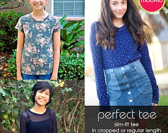 Perfect Tee Tween/Teen PDF Downloadable Pattern by MODKID... sizes 10 to 18 Juniors included - Instant Download