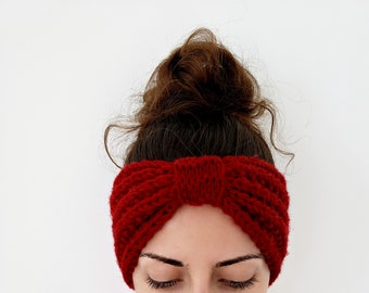 Chunky Knit Ear Warmer with Top Knot Detail, Chunky Ear Warmer Headband, Hand Knit Headband Women, Top Knot Ear Warmer, Knit Turban Headband