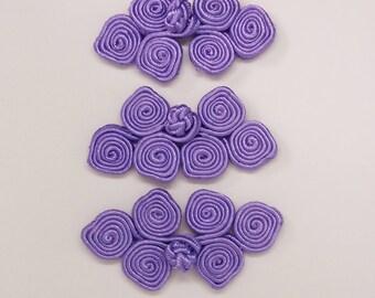 Lavender frog closure. 3 scroll. Set of 3