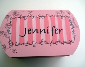 Pink,black,keepsake box,love letter,personalized gift,girl's keepsake box,toille box,toille,children memory boxes,kids box,baby's memory box