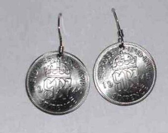 Coin earrings-British King George silver 6p earrings+free 6p