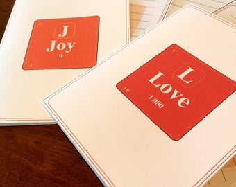 periodic table joy and love all occasion cards science chemistry digital download