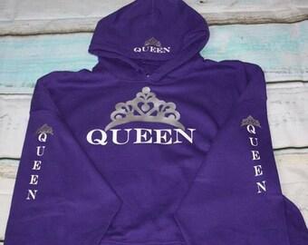 Queen Hoodie Crown Sweatshirt Queen Hoodie Queen Pullover Hoodie Queen With Crowns Pullover Hoodie Queen On The Hood Sweatshirt Crown Hood