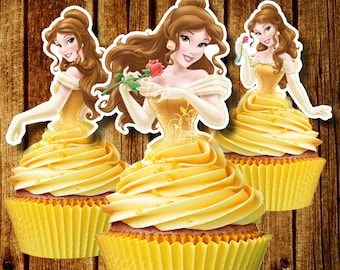 PRINTABLE Princess Belle Cupcake Toppers / Beauty & The Beast Cupcake Toppers / Instant Download / Printable Party Favors