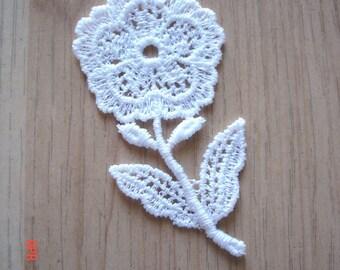 4 x NEW Venise Lace Applique Mini Flower Trim WHITE