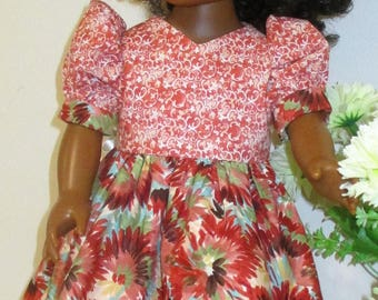 """18"""" ag doll pink and rose abstract floral dress, short pink, rose and turquoise doll dress, short sleeve doll dress, pink/rose doll dress"""