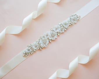 Floral bridal belt - floral wedding belt - floral bridal belts and sashes - floral bridal sash -floral wedding sash -floral belts and sashes