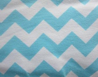 7.99 A Yard - Weekly Special - Riley Blake - Small Chevron Aqua Knit Fabric - K340 - 20 - 58/59 Wide