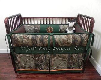 Custom Baby Crib Bedding Set Clay -  Boy Baby Bedding, Camo Baby Bedding, Hunter Green Bedding, Deer Crib Bedding