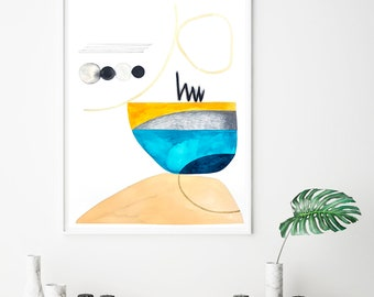 Original geometric painting, minimal blue and gold art, large abstract art, zen wall art