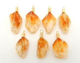 Citrine Point - Citrine Point Wire Wrapped Gold Tone Pendant (RK19B3-07)