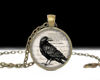 Raven Necklace Raven Jewelry Bird Nest Pendant Wearabel Art Crow Necklace