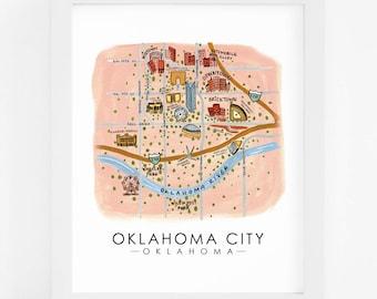 OKC - Oklahoma City, Oklahoma - Hand Painted Design - 8x10 Art Print