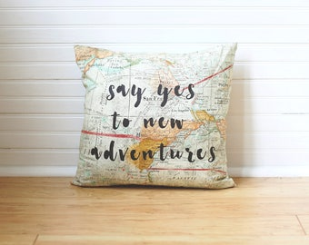 Say Yes To New Adventures Map Pillow Travel Pillow Dorm Decor Dorm Room College Dorm Pillow Map Decor Gift for Teen Map Pillow Cover