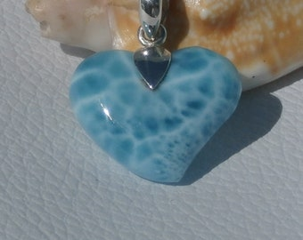 Marbled Larimar Heart Pendant In Sterling Silver 925