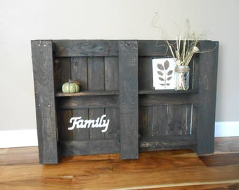 "Rustic ""Family"" Pallet Shelving on Reclaimed Pallet Wood - Horizontal"