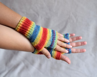 Rainbow wool wrist warmers, knit fingerless gloves, office gloves, thin mittens, snug driving gloves, bicycle gloves, striped wristwarmers