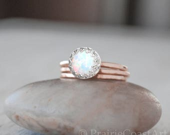 Rose Gold Opal Ring Set in 14k Rose Gold-Filled - Opal Ring with Two Bands Ring Set - Handcrafted Artisan Ring - October Birthstone