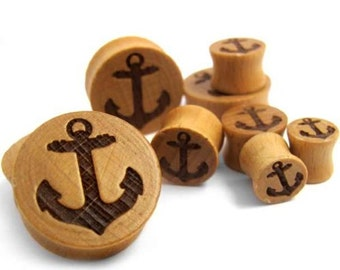 Anchor Engraved Wood Plugs - Double Flare (00G -1 Inch) Sold In Pairs - New!