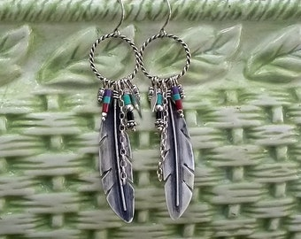 Boho Feather Earrings, Sterling Silver Earrings, Southwest Earrings, Beaded Feather Earrings, Native American-Style Earrings, Gypsy Style