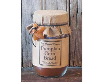 Primitive Candle, Country Candle, Rustic Candle, Pumpkin Corn Bread Scented Jar Candle