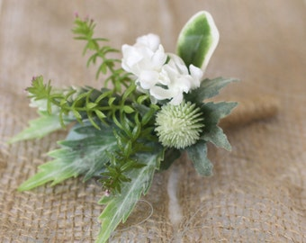 Lachlan - Men's Buttonhole / Boutonniere - Rustic, country garden style buttonhole, Thistle, lilac, green wildflowers and foliage..