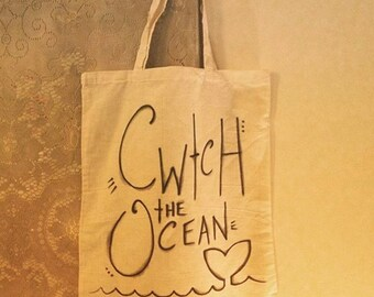 Cwtch the Ocean - Handwritten Eco Cotton Tote Bag from Wales - Little Hugs making a World of Difference