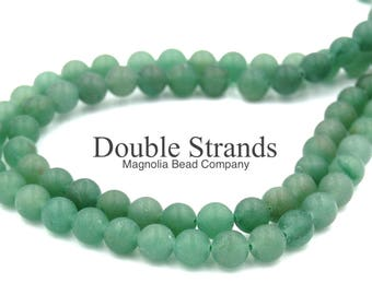 "Two 15.5"" strands Green Aventurine Matte Beads 8mm, Two 15"" strands"