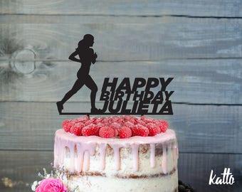 Runner Birthday Cake Topper, Birthday Cake Topper, Female Runner, Running Cake Topper, Custom runner Cake Topper, Happy birthday cake topper