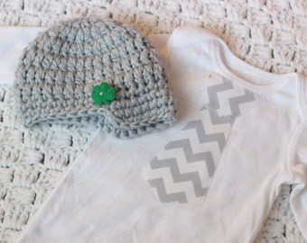 Baby Tie Bodysuit and Crocheted Hat Set Baby Tie Bodysuit and Crochet Hat Set Infant Boy Chevron Tie  Crochet Hat Saint Patrick's Outfit