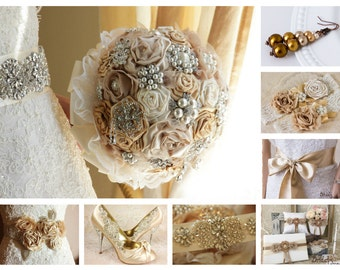 Champagne Bridal Brooch Bouquet, Bridal Bouquet, Wedding Bouquet, Bridal Accessories, Champagne Wedding, Ivory, Golden