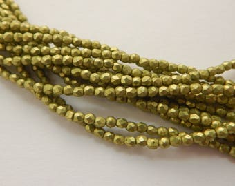 Firepolish Faceted 2mm Czech Glass Saturated Metallic Primrose yellow (50 beads)