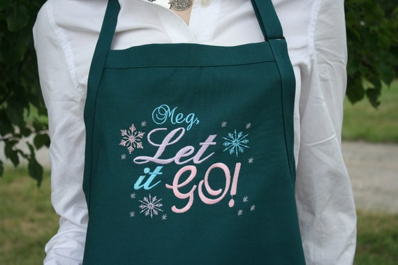 """Customized or not Frozen """"Let It Go"""" apron w bow or not. Kitchen, diner, work, friend, mom, dad, employee, Student. For all Frozen lovers"""