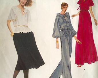 Uncut Vogue Designer Original Pattern Jean Muir 1835 Misses' Top, Skirt, and Pants Size 10
