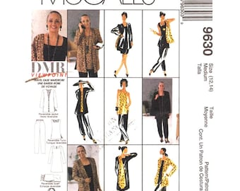 Womens Sewing Pattern Cardigan Tunic Scarf Dress Pants Tote McCalls 9630 Wardrobe Pattern Size 12 14