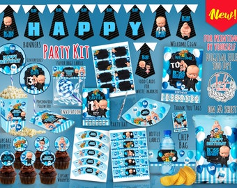 Boss Baby Party Kit digital, party favors, invitation, Birthday Decoration , Party Decor ,  printables, supplies