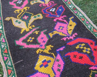 Turkish Rug 1x3 Black Wool Pile Small Vintage Rug Hand Knotted Semi Antique Area Rug - CATE0103