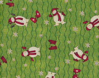 "New Snowmen Mittens and Sparkly Snowflakes Toss on Green 100% Cotton Fabric 35"" x 41"" Piece"