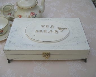 Cream tea box / shabby chic / Tea bag box / Tea cabinet, wooden tea box
