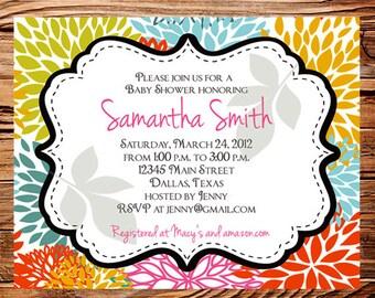Baby shower invitation, floral baby shower Invitation, boy, girl, baby Shower Invite, pink, yellow, Invite,  digital, 1112
