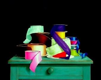 Oil painting original ribbons trompe l'oeil still life realism