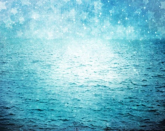 "Surreal Blue Ocean Photograph ""Under Paper Stars"" Starry Sky Photo - Dreamy Blue Sea Landscape - Nature Photography"