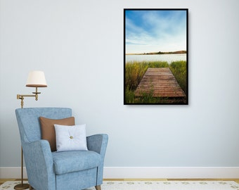 Dockside Bliss, Fine Art Canvas Gallery Wrap, Landscape Photography, Green, Blue, Dock by the Lake, Peaceful, Inviting