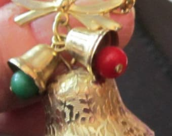 Vintage Christmas Bell Gold Brooch