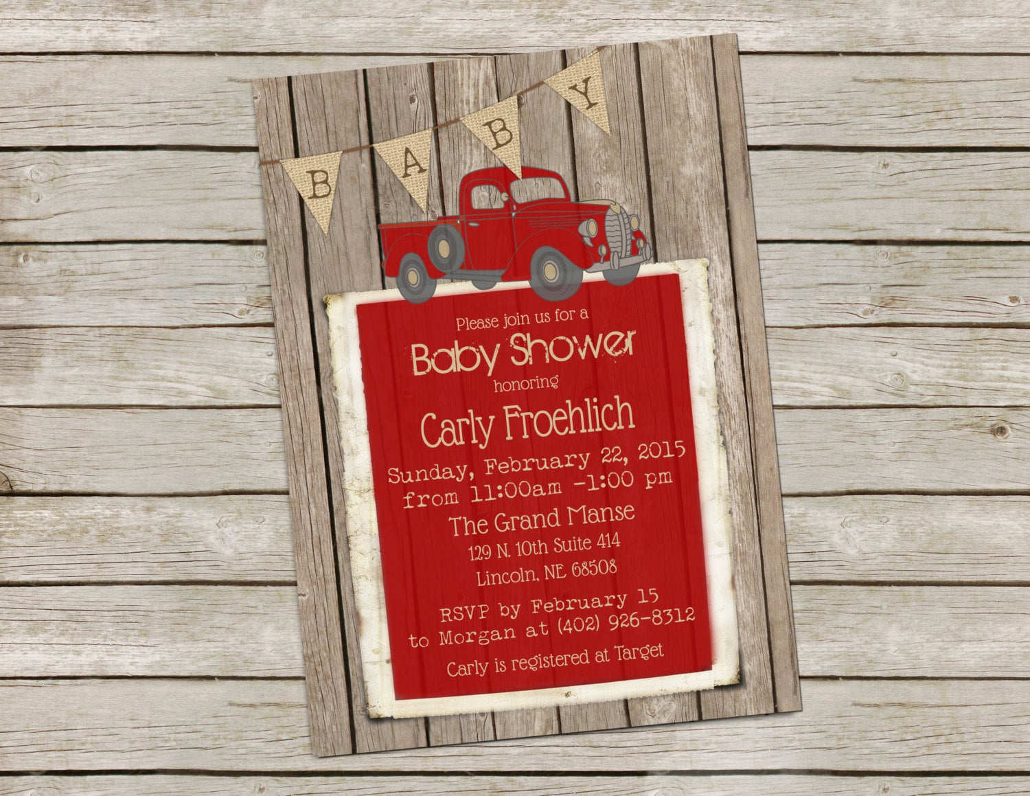 Vintage Truck Baby Shower Invitation Rustic Wood baby shower