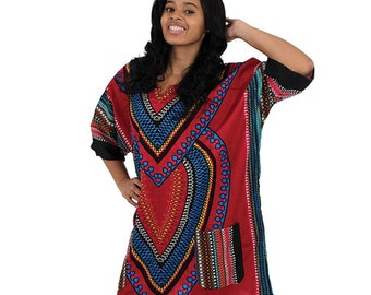 Africa Traditional Heart Of Africa Dashiki - Burgundy